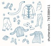 winter clothing set of vector...