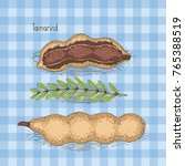 card with ripe tamarind in... | Shutterstock .eps vector #765388519