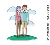couple in watercolor silhouette ... | Shutterstock .eps vector #765391465