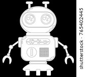 a cute robot  on wheels  with... | Shutterstock .eps vector #765402445