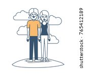 couple in color sections... | Shutterstock .eps vector #765412189
