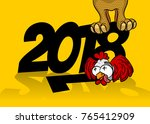 cartoon character new year... | Shutterstock .eps vector #765412909