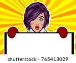 girl in mitten glove hold... | Shutterstock .eps vector #765413029