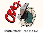 crack kick breakthrough paper... | Shutterstock .eps vector #765416161