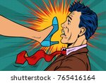 girl power  woman fights with a ... | Shutterstock .eps vector #765416164