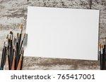 set of artistic paint brushes... | Shutterstock . vector #765417001