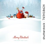 merry christmas red calligraphy ... | Shutterstock .eps vector #765418624