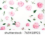 frame of pink peony flowers ...   Shutterstock . vector #765418921