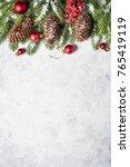 christmas background. snow fir... | Shutterstock . vector #765419119