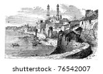 Varanasi or Banares or Banaras, in Uttar Pradesh, India, during the 1890s, vintage engraving. Old engraved illustration of Varanasi. Trousset Encyclopedia - stock vector