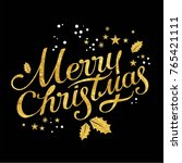 merry christmas lettering with... | Shutterstock .eps vector #765421111