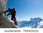 climbing in chamonix. climber... | Shutterstock . vector #765423121