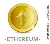 ethereum vector icon as golden... | Shutterstock .eps vector #765423487