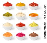 set of sauces in jar isolated | Shutterstock . vector #765423904