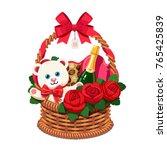 romantic wicker present basket... | Shutterstock .eps vector #765425839