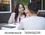 black female on a blind date... | Shutterstock . vector #765426235