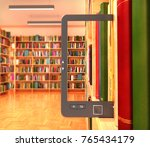 book store and e book on the...   Shutterstock . vector #765434179