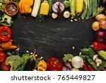 frame of fresh organic... | Shutterstock . vector #765449827