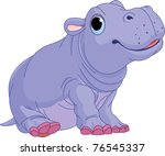 illustration of cute baby hippo ... | Shutterstock .eps vector #76545337