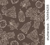 seamless pattern with fingered... | Shutterstock .eps vector #765454255