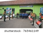 """Small photo of welcoming party for student. """"bela negara"""" at batalyon 15 arhanudse Semarang. Anti air unit. over 100 college student were participate. october 2014."""