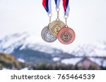 gold silver and bronze medal... | Shutterstock . vector #765464539
