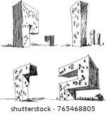 four hand drawn... | Shutterstock .eps vector #765468805
