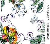 watercolor wild tropical exotic ...   Shutterstock . vector #765469477