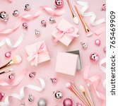 flat lay holiday background... | Shutterstock . vector #765469909