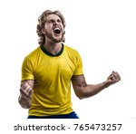 male athlete   fan in yellow... | Shutterstock . vector #765473257