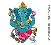 hindu lord ganesha | Shutterstock .eps vector #765476419