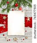 holiday christmas card with fir ... | Shutterstock .eps vector #765477505
