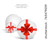 white round box tied with a red ... | Shutterstock .eps vector #765479059
