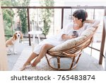 relaxed barefooted girl in...   Shutterstock . vector #765483874