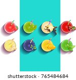 a set of smoothies. bright... | Shutterstock .eps vector #765484684