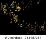 golden musical notes flying... | Shutterstock .eps vector #765487357