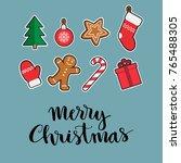 merry christmas hand drawn... | Shutterstock .eps vector #765488305