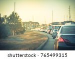 blurred busy road long line of... | Shutterstock . vector #765499315