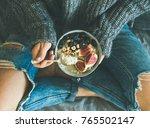 healthy winter breakfast in bed.... | Shutterstock . vector #765502147