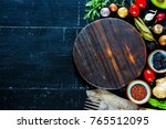 flat lay of food clean eating... | Shutterstock . vector #765512095