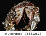 christmas wreath traditional... | Shutterstock . vector #765512629