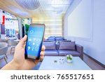 smart phone with smart home and ... | Shutterstock . vector #765517651