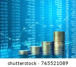investment concept  coins graph ... | Shutterstock . vector #765521089