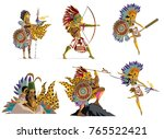 aztec warriors collection | Shutterstock .eps vector #765522421