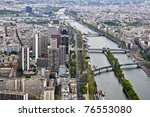 Center of Paris from the heights. View from the Eiffel Tower on the river Seine. Modern architecture. - stock photo