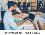 skilled male architect making... | Shutterstock . vector #765534031