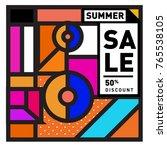 summer sale memphis style web... | Shutterstock .eps vector #765538105