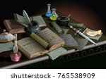 table of alchemist or wizard... | Shutterstock .eps vector #765538909