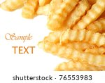 crinkle cut french fries on... | Shutterstock . vector #76553983