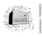 retro radio  sketch for your... | Shutterstock .eps vector #765546331